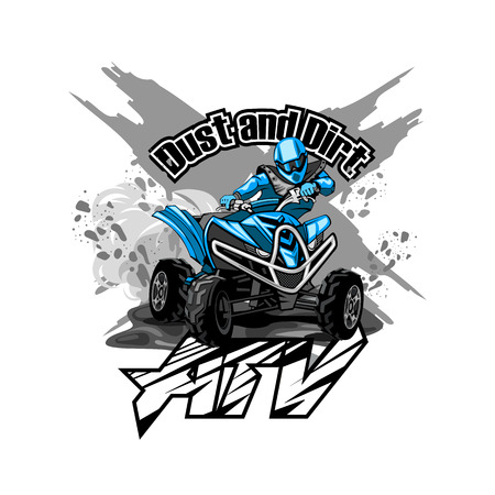 Quad Bike Off-Road ATV Logo, Dust and Dirt. Illustration