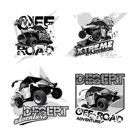Off-Road ATV Buggy, Black and White Logo. Illustration