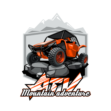 Off-Road ATV Buggy Logo, Mountain adventure.