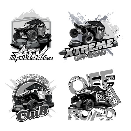 Off-Road ATV Buggy, Black and White Logo. Logo