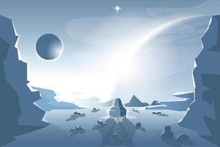 Start a Shuttle from an unknown planet Vector Illustration