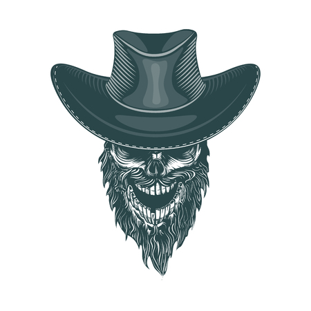 Bearded Cowboy in a Hat, Monochrome hand drawn tatoo style
