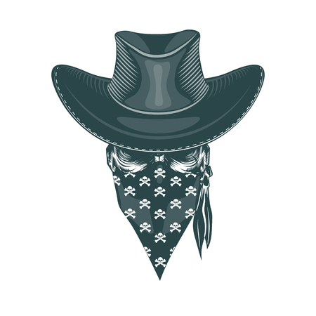 Skull Cowboy in a mask. Monochrome hand drawn tatoo style