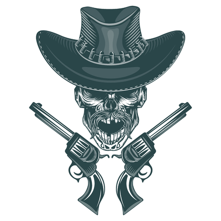 Skull of a mustached cowboy with pistols. Monochrome hand drawn tatoo style