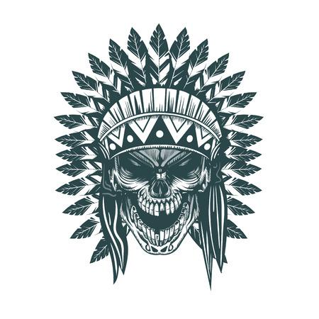 Indian skull. Monochrome hand drawn tatoo style