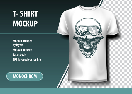 Skull of the German Soldier. T-Shirt template, fully editable. Çizim