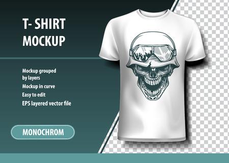 Teschio del soldato tedesco. Modello di t-shirt, completamente modificabile.