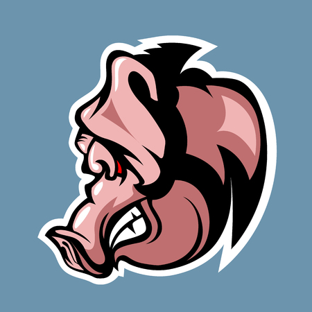 Evil Pig in profile. Cartoon style.