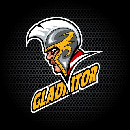 Gladiatorenkopf von der Seite. Kann für Vereins- oder Teamlogo verwendet werden. Vektorgrafik.