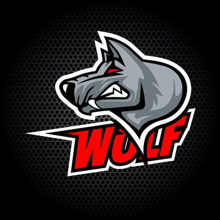 Wolf Head from side. Can be used for club or team logo. Vector graphic.