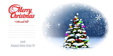 Christmas Tree Postcard. EPS 10 Vector graphics. Layered and editable Banco de Imagens - 127474132