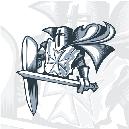 Monochrome Valiant Knight Crusader.  Vector graphics. Layered and editable.