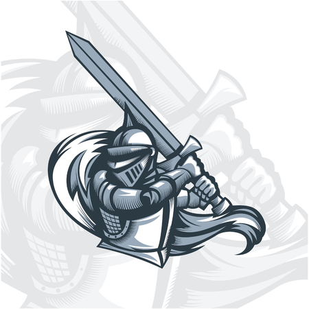Monochrome Paladin knight with sword.Vector graphics. Layered and editable.