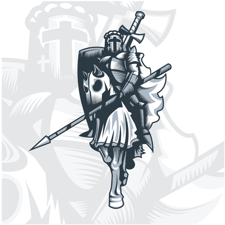 Monochrome Knight on horse.  Vector graphics. Layered and editable.