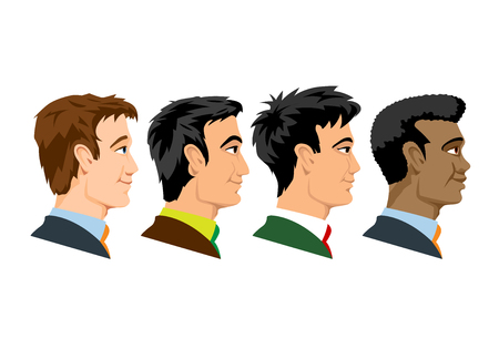 Side view of four kind of races men.Vector graphics.