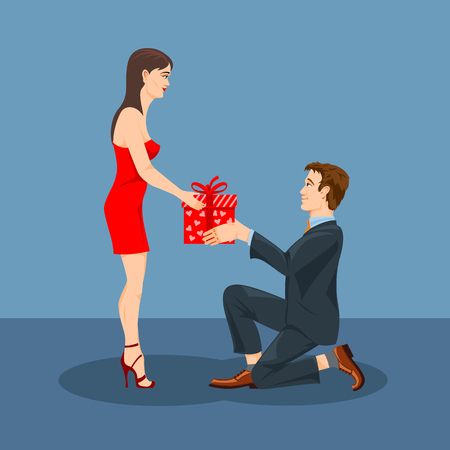 A man gives a gift to his beloved woman. Vector graphics.