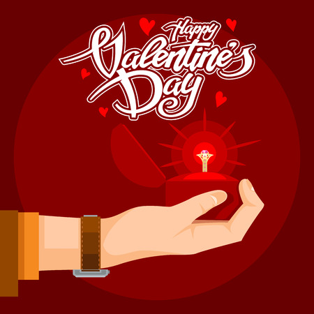 Valentines Day Text with a precious gift in hand.  Vector graphics.