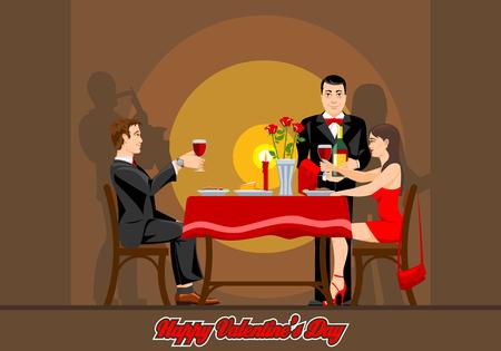 Due innamorati hanno una serata romantica in un ristorante. Grafica vettoriale. Vettoriali