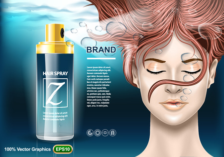Hair Spray protection ads template, with girl under water with closed eyes. Realistic image mock up.