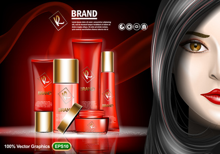 Set of Skin Care cream ads, with nice brunette girl. Realistic no limits image size template. Vector graphics.