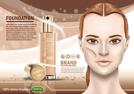 Advertising of moisturizing cosmetic and nice girl showing perfect healthy skin. Realistic Image template. Vector graphics.