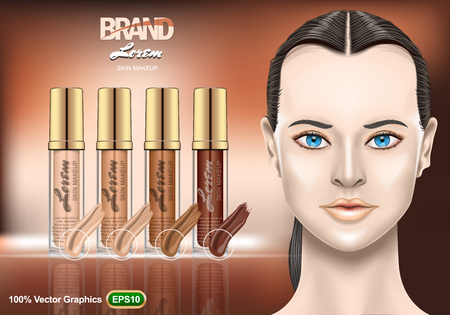 Foundation Creams set ads, with nice brunette woman on brown background. Realistic image template. Vector graphics.