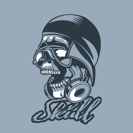 Skull in a cap and headphones. Monochromic tattoo style. 向量圖像