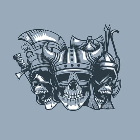 Three skulls, roman, barbarian and slav. Monochromic tattoo style.