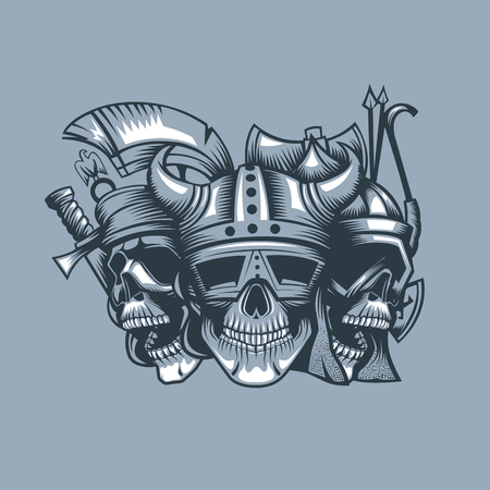 Three skulls, roman, barbarian and slav. Monochromic tattoo style.