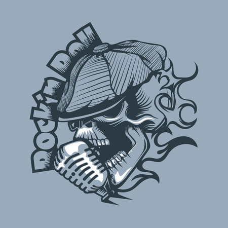 Skull in a cap singing into the microphone. Tattoo style. Ilustração