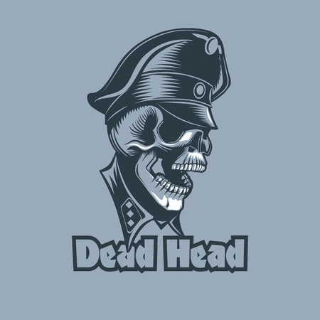 Skull in uniforms with the inscription Dead Head. Tattoo style.