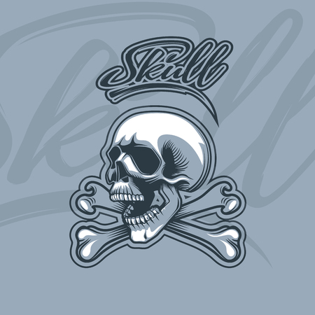 Bones and Skull monochromic cartoon style, with dynamic label. 向量圖像