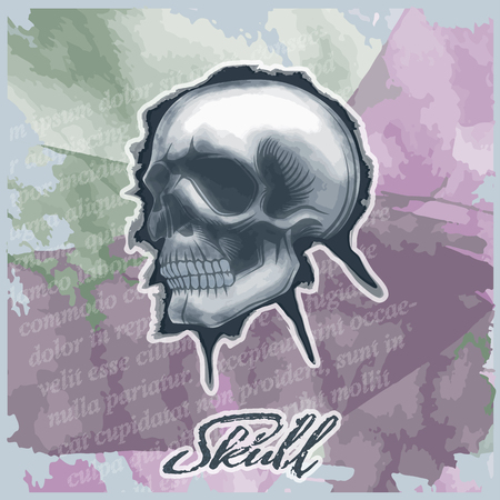 Skull drawn in watercolor style, on vintage background.