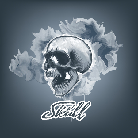 Monochromic watercolor Skull on smeared paint background. Vector Illustration.