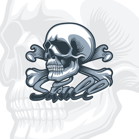 Skull and bones, monochrome detailed drawing. Monochromic tattoo style. 向量圖像
