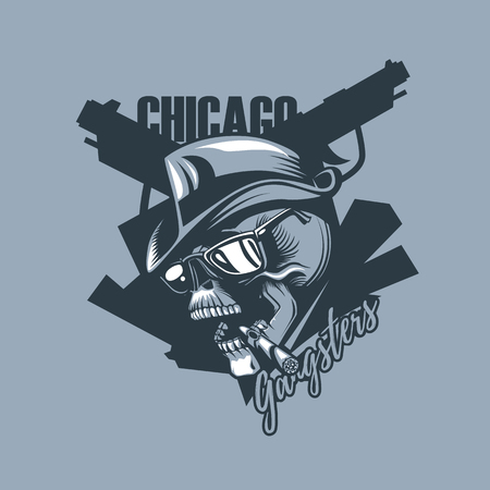 Vintage skull in the style of 30 years. Chicago gangsters. Monochromic tattoo style.