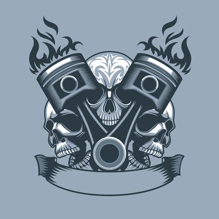 Deux pistons brûlants sur fond de trois crânes. Style de tatouage monochrome.