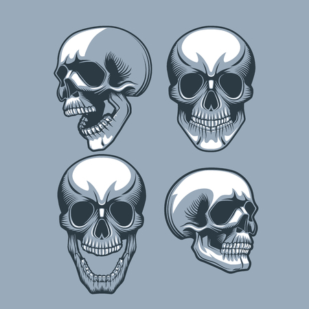 A set of four skulls looking in different directions. .Monochrome tattoo style. Ilustração
