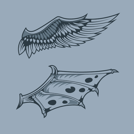 Angel and Dragon Wings .Monochrome tattoo style.
