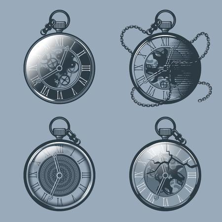 Conjunto de relojes de bolsillo antiguos. Estilo de tatuaje monocromo.