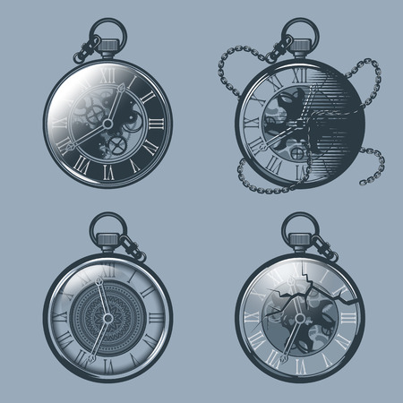 Set of vintage pocket watches. Monochrome tattoo style.