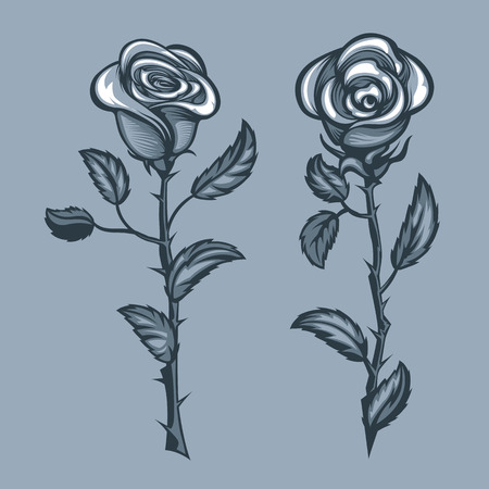 Two roses with thorns. Monochrome tattoo style.