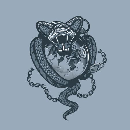 Snake wickelte Uhr und Kette ein und zerschmetterte sie. Einfarbiger Tattoo-Stil.