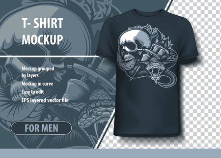 Viper, Skull and Tattoo machines. Fully editable T-Shirt template.
