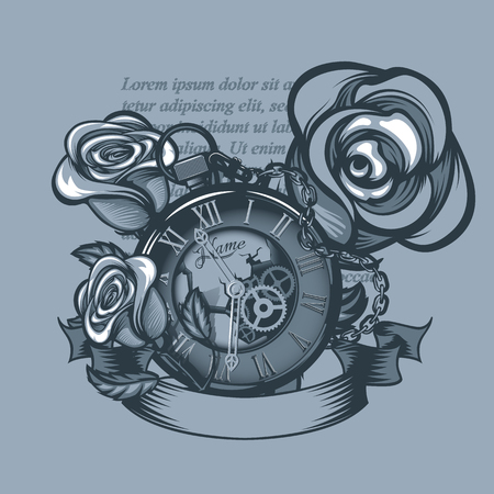 Vintage clock and three roses around. Monochrome tattoo style.