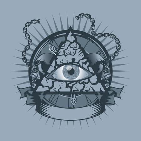 Vintage all seeing Eye in Triangle with watches and Skulls behind. Monochrome tattoo style. Vettoriali