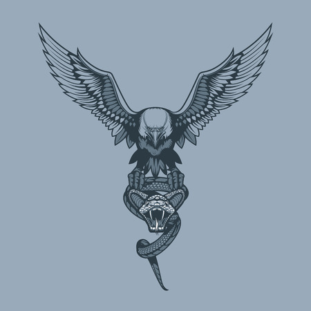Eagle with Snake in claws. Monochrome tattoo style.