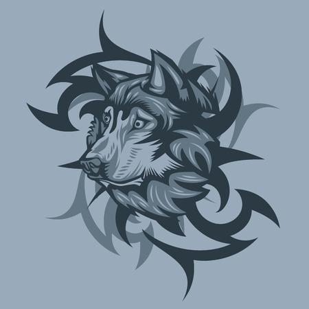 Wolf with Tribal background. Monochrome tattoo style. Ilustração