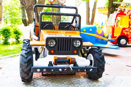 Jeep rides with childrens games in the city park