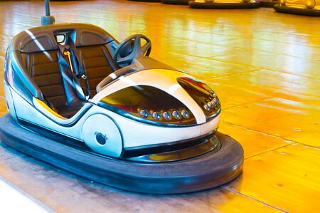 Electric car on the circuit in the amusement park Stock Photo